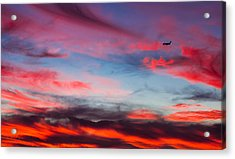Airplane In The Sunset Acrylic Print by April Reppucci