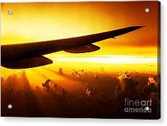 Airplane On Sunset Acrylic Print