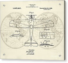 Airplane Patent Collage Acrylic Print by Delphimages Photo Creations