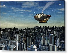 Airship Over Future City Acrylic Print