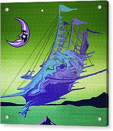 Airship Under A Smiling Moon  Acrylic Print