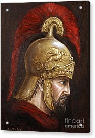Acrylic Print featuring the painting Ajax by Arturas Slapsys