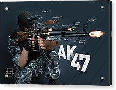 Ak-47 Infographic Acrylic Print by Anton Egorov