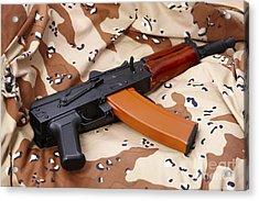 Ak-47u On Old Persian Gulf War Desert Battle Dress Uniform Acrylic Print