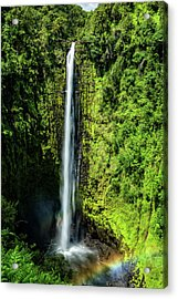 Akaka Falls With Rainbow Acrylic Print