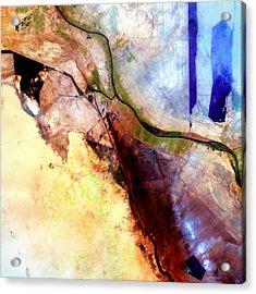 Al Basrah Iraq Watercolor From Landsat Acrylic Print by Elaine Plesser