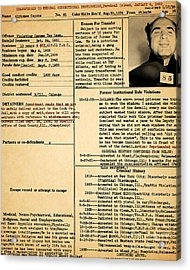 Al Capone Transfer Record Alcatraz Island To Terminal Island 20170518 Acrylic Print
