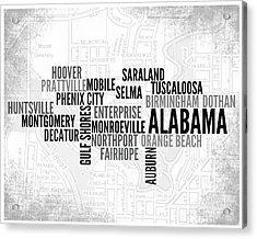 Alabama 1 Word Art Typography Acrylic Print