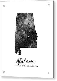 Alabama State Map Art - Grunge Silhouette Acrylic Print