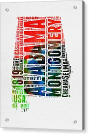 Alabama Watercolor Word Cloud  Acrylic Print