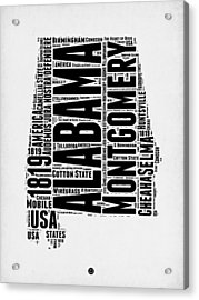 Alabama Word Cloud 2 Acrylic Print