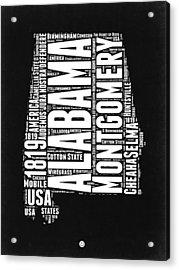 Alabama Word Cloud Black And White Map Acrylic Print by Naxart Studio