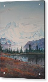 Alaksa Mountain And Lake Acrylic Print by Debbie Homewood