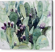 Acrylic Print featuring the painting Alamo Prickly Pear by Jeffrey S Perrine