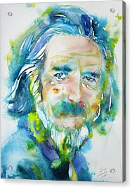 Acrylic Print featuring the painting Alan Watts - Watercolor Portrait.4 by Fabrizio Cassetta
