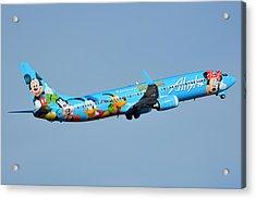 Alaska Boeing 737-990 N318as Disneyland Phoenix Sky Harbor January 19 2016 Acrylic Print by Brian Lockett