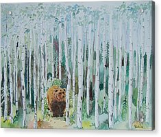 Alaska -  Grizzly In Woods Acrylic Print by Christine Lathrop