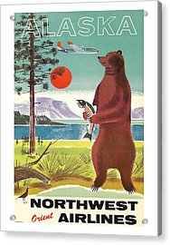 Alaska Kodiak Brown Grizzly Bear Vintage Airline Travel Poster Acrylic Print