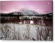 Alaska Range Pink Sky Acrylic Print