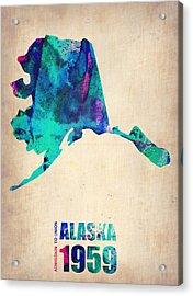 Alaska Watercolor Map Acrylic Print by Naxart Studio