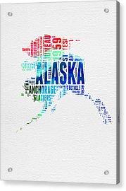 Alaska Watercolor Word Cloud  Acrylic Print