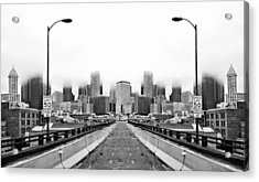 Alaskan Way Viaduct Downtown Seattle Reflection Acrylic Print by Pelo Blanco Photo