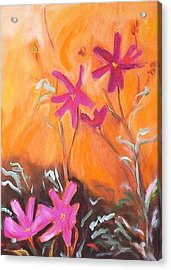 Acrylic Print featuring the painting Alba Daisies by Winsome Gunning