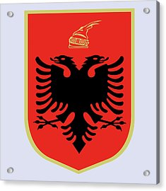 Acrylic Print featuring the drawing Albania Coat Of Arms by Movie Poster Prints