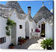 Alberobello Courtyard With Trulli Acrylic Print