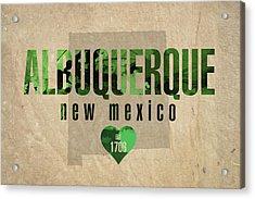 Albuquerque New Mexico City Love Established 1706 Series 005 Acrylic Print