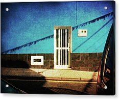 Acrylic Print featuring the photograph Alcala Blue Wall White Door by Anne Kotan