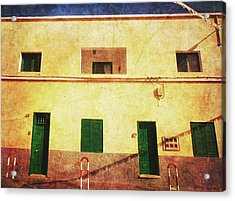 Acrylic Print featuring the photograph Alcala Yellow House With Green Doors by Anne Kotan