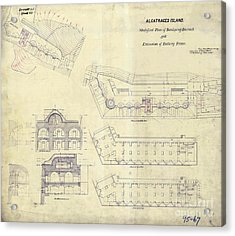 Alcatraz  Bomb Proof Barracks Drawing 1865   Acrylic Print by Jon Neidert