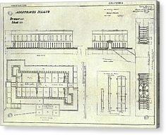 Alcatraz Defensive Barracks Drawing 1859 Acrylic Print