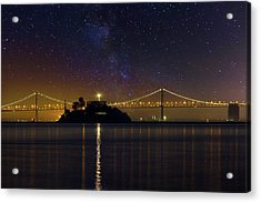 Alcatraz Island Under The Starry Night Sky Acrylic Print by David Gn