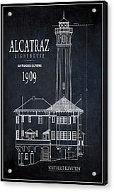 Alcatraz Lighthouse 1909 Blueprint Minimal Acrylic Print by Daniel Hagerman