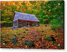 Alex Cole Cabin At Jim Bales Place, Roaring Fork Motor Trail In The Smoky Mountains Tennessee Acrylic Print
