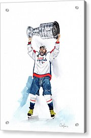 Alex Oveckhkin Stanley Cup Win Acrylic Print by Caroline Serafinas