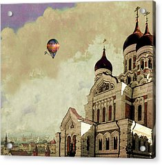 Acrylic Print featuring the digital art Alexander Nevsky Cathedral In Tallin, Estonia, My Memory. by Jeff Burgess