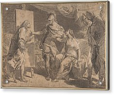Alexander The Great Offering His Concubine Campaspe To The Painter Apelles Acrylic Print by Gaetano Gandolfi