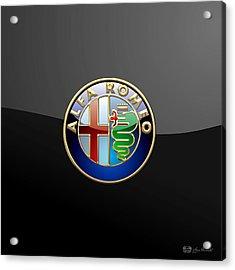 Alfa Romeo - 3 D Badge On Black Acrylic Print by Serge Averbukh