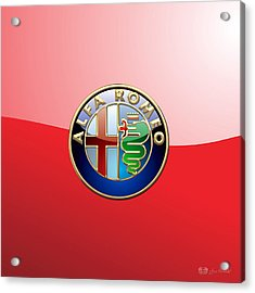 Alfa Romeo - 3d Badge On Red Acrylic Print by Serge Averbukh