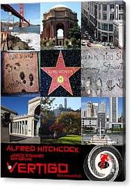 Alfred Hitchcock Jimmy Stewart Kim Novak Vertigo San Francisco 20150608 Text Black Acrylic Print by Wingsdomain Art and Photography