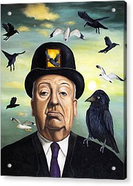 Alfred Hitchcock Acrylic Print by Leah Saulnier The Painting Maniac