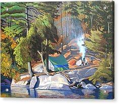 Algonquin Campsite Acrylic Print by Paul Gauthier