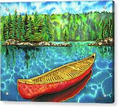Algonquin Park Canada - Red Canoe Acrylic Print