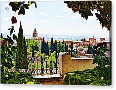 Alhambra Gardens, Digital Paint Acrylic Print