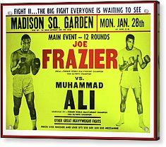 Ali Vs Frazier Boxing Poster Acrylic Print by Bill Cannon