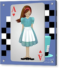 Alice 3d Flying Cards Acrylic Print by Audra Lemke