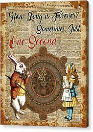 Alice And White Rabbit Vintage Dictionary Art Quote Acrylic Print